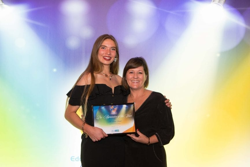 McKenzie Smart, Pre-Apprentice of the Year, with Angela Abreu of NECA Education & Careers