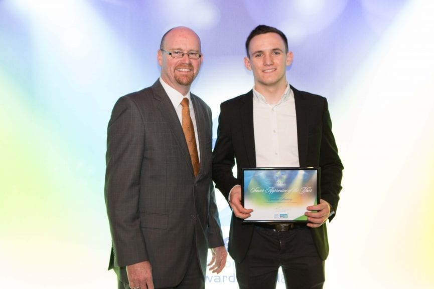 David Fenwick from NHP with Jackson Stanbury, Senior Apprentice of the Year