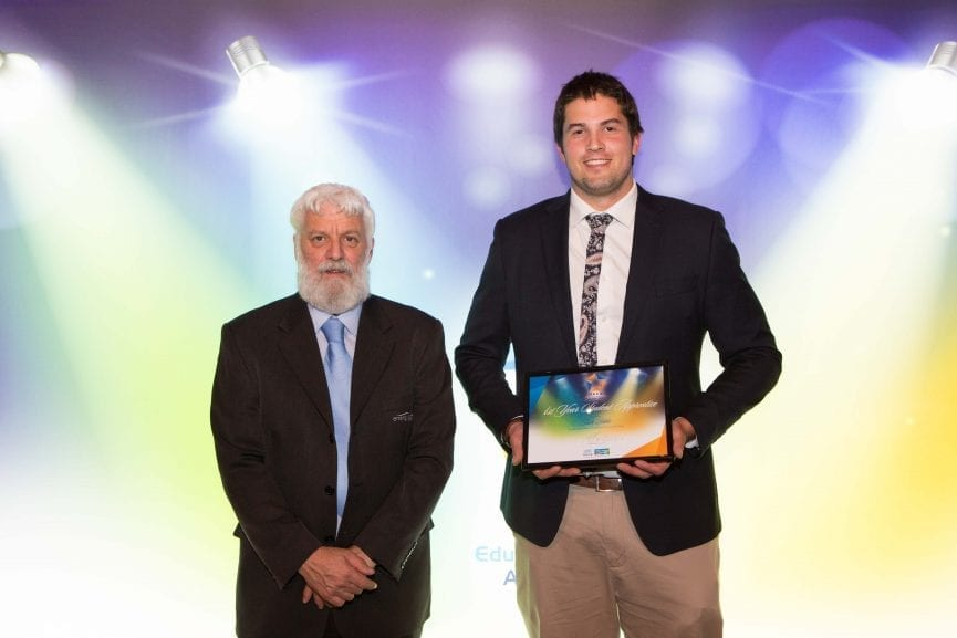 Neil Fraser from Energy Safe Victoria with Jack Blake, 1st Year Student Apprentice of the Year