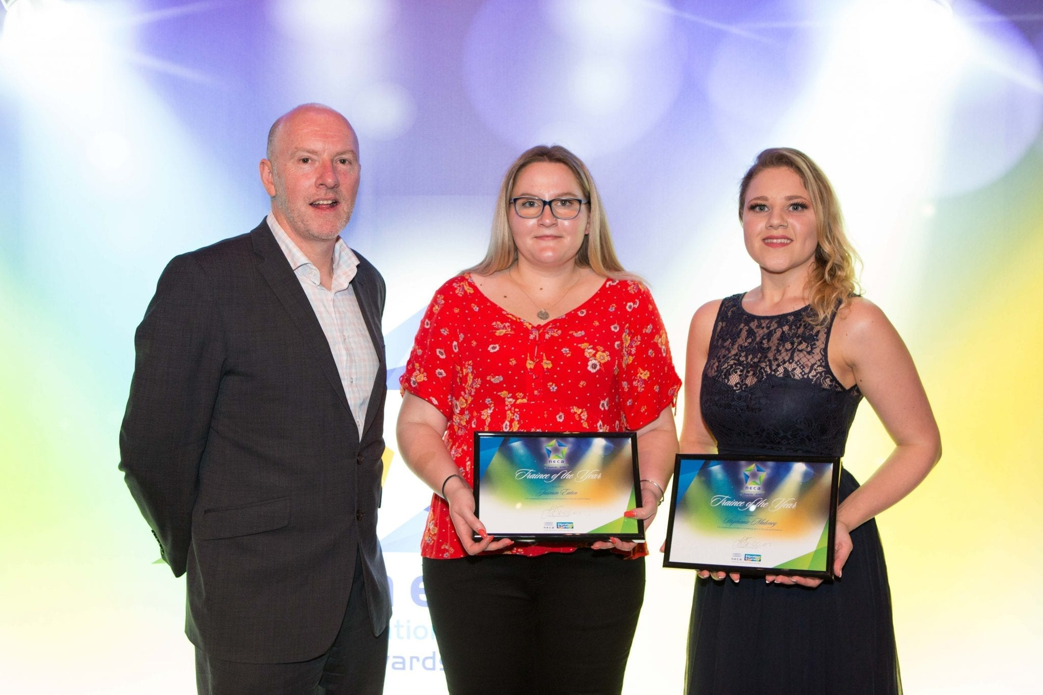Gary Workman, Apprenticeship Employment Network, with Jasmin Eaton and Stephanie Maloney, Trainees of the Year