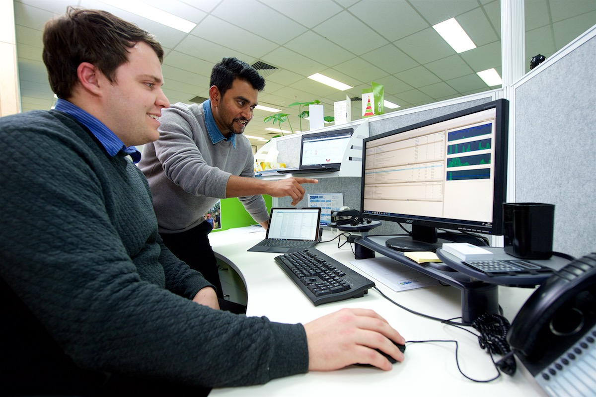 Trainee and supervisor analysing data on computer screen